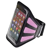 SumacLife Workout Sports Armband Case For Motorola MOTO X / MOTO G / DROID MAXX / RAZR MAXX (Pink Mesh)