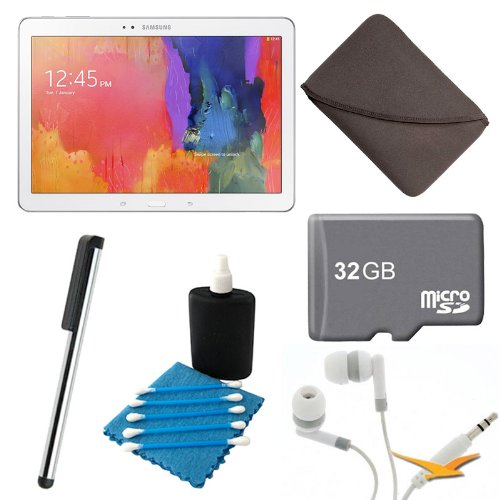 Samsung Galaxy Tab Pro 10.1 Tablet (White)Sm-T520Nzwaxar Bundle With 32Gb Micro Sd Card, Carrying Case, Noise Isolation Earbuds, Screen Cleaner, And Touchpen Stylus