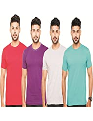 Fleximaa Men's Round Neck T-Shirt Plain Combo Offer (Pack Of 4) - Red, Purple, Grey Milange & Shade Green Colors...