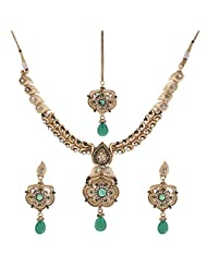 Shahenaz Jewellers 24 Ct Gold Plated Bridal Jewellery Set With CZ And Marquis Stones For Women - B00R2IOIFQ