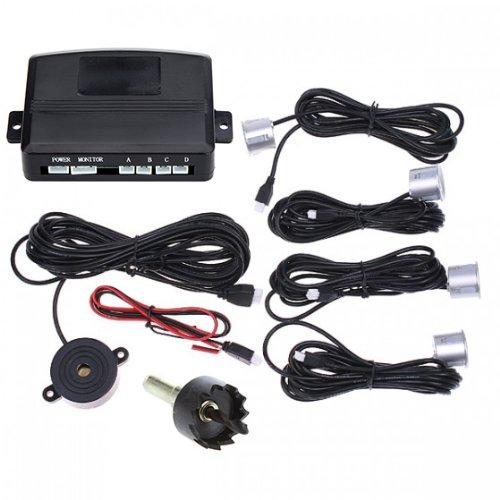 Andoer Car Parking Reverse Backup Radar Sound Alert + 4 Sensors Silver front-151778