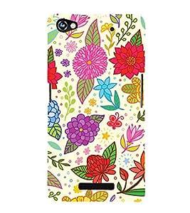 Clipart Floral Design 3D Hard Polycarbonate Designer Back Case Cover for Micromax Canvas Hue 2 A316