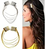 Fringe Tassel Hair Comb Cuff (Color: Gold) Women Head Hairband Silver,Chain Hair Comb Cuff,Head Clip Hairband,Hair Chain Head Piece,Hair ornament.H154869