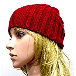 Mily Unisex Fashion Winter Daily Heather Hats Skull Caps Red