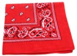 "100% Cotton Double Sided Print Paisley Bandana Scarf, Head Wrap - Red, 22"" X 22"""