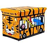 Kids Childrens Safari Storage Box Ottoman Pouffe Seat Stool Toy Books Chest