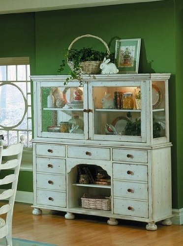 Buy Low Price Homelegance Weathered Cottage Style Antique White China Cabinet / Buffet Hutch (VF_HE782W-50)