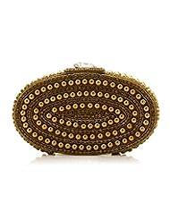 Voylla Voylla Clutch With Boxy Shape Golden Beads