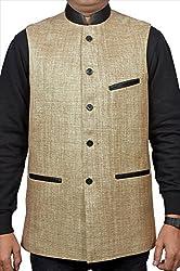 Adam In Style Beige Jute Jacket For Men (Size: 40)