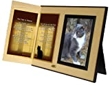 Cat Lover Remembrance Gift, Four Feet in Heaven Poem, Memorial Pet Loss Picture Frame Keepsake and Sympathy Gift Package, Ginger with Foil Accent