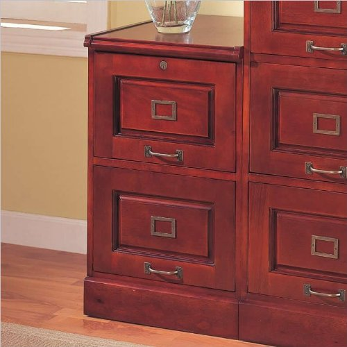 Coaster Legal/Letter File Filing Cabinet With Lock, 2-Drawer, Cherry Finish