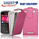 Gadget Giant Blackberry 9360 Curve - Pink Supreme PU Leather Flip Case / Cover / Pouch - With Clip In Holder + FREE Screen Protector