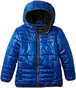 Calvin Klein Little Boys' Lightweight Reversible Jacket, Turquoise/Black, Large