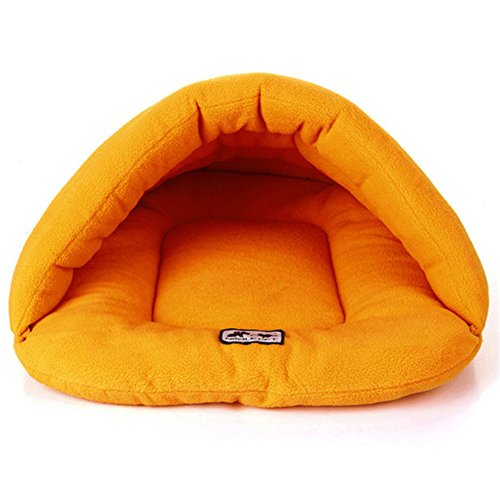 New Soft Warm Dog Cat Bed House Plush Cozy Nest Mat Pad Cushion Orange M