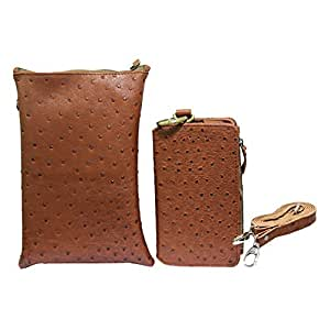 Jo Jo A7 Zara Sr Croc Leather Wallet sling Bag clutch Pouch Mobile Phone Case Cover Fo Yu Yu5530  Brown