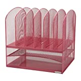 Safco Products Onyx Mesh Desk Organizer, 2 Horizontal and 6 Upright Sections, Pink, 5903PI