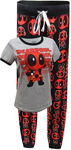 Marvel Comics Deadpool Jogger Pajama for women (Large) (Marvel Superheroes Pajamas compare prices)