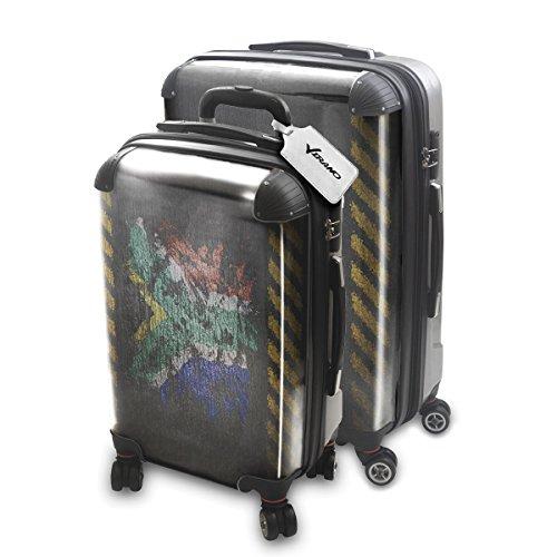 Drapeau Graffiti Afrique Du Sud, 2 pièce Set Luggage Bagage Trolley de Voyage Rigide 360 degree 4 Roues Valise avec Echangeable Design Coloré. Grandeur: Adapté à la Cabine S, L