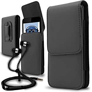 iTALKonline LG C900 Optimus 7Q Grey PREMIUM PU Leather Vertical Executive Side Pouch Case Cover Holster with Belt Loop Clip and Magnetic Closure