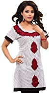 Long India Tunic Top Womens Kurti Embroidered Cotton Blouse