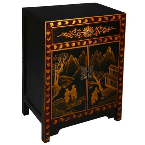 Cheap EXP Handmade Asian Furniture – 32″ Black & Gold Chinese Mountain Village End Table / Storage Cabinet (B001JI485U)