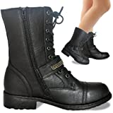 Ladies Womens New Combat Black Biker Army Military Ankle High Buckle Zip Lace Up Boots Size UK 3-8