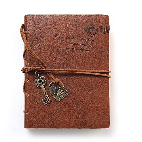 Soledì- Diario Quaderno degli Appunti Taccuino Copertina Vintage Design In Pelle con Cinghia e Accessori Chiave, 100*140mm (Caffe  Scuro)