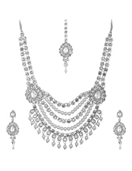 Lucky Jewellery White Pearl Jewellery Set For Women - B00SINFV46