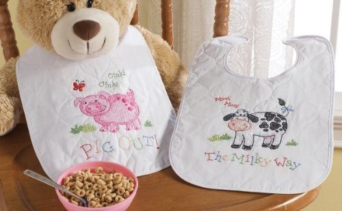 "Bucilla On The Farm Bibs Stamped Cross Stitch Kit-9""X14"" Set Of 2"
