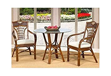 St. Barts 3 Pc Rattan Cafe Table Set in Urban Mahogany (642)