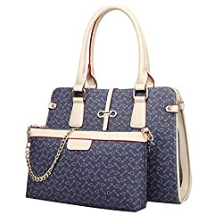 Coofit® Deluxe Office Lady 2 Piece Leather Handbag Cross-body Bags for Women (Dark Blue)