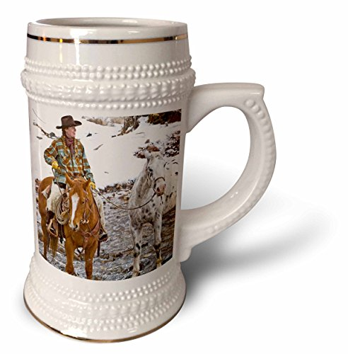Danita Delimont - Cowgirls - Cowgirl on horse, Hideout Ranch, Shell, Wyoming - US51 JRE0034 - Joe Restuccia III - 22oz Stein Mug (stn_97344_1)