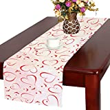 InterestPrint Abstract Red Heart Long Table Runner 16 X 72 Inches, Romantic Valentine's Day Rectangle Table Runner Cotton Linen Cloth Placemat for Office Kitchen Dining Wedding Party Home Decor