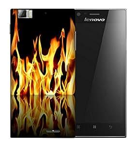 Snoogg Furious Fire Designer Protective Back Case Cover For LENOVO K900