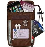 Landing Gear Passport Holder Neck Pouch With RFID #1 Travel Wallet (Brown)