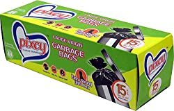 Pixcy Premium (24inch X 32inch) Black Garbage Bags With Detachabable Tie (pack of 60 Bags)