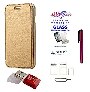 AryaMobi TM© Rock Style Crome Leather Soft TPU TransParent Back Case Flip Cover With Free Tempered Glass,Stylus,Sim Adopter and Card Reader for Samsung Galaxy A7 (2016) - A710 - Gold