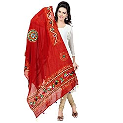 Banjara WomenS Cotton Stoles & Dupattas Kutchi Mirrorwork (Kch03 _Blood Red _Handicraft Dupatta_Free Size)