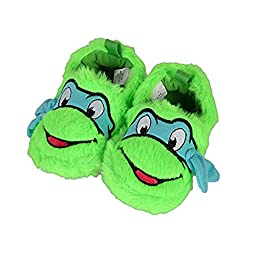 Teenage Mutant Ninja Turtles Leonardo Blue Mask Furry Infant Slippers (3-6 Months)