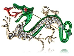 Oriental Open Flaming Green Red Dragon Rhinestone Crystal Fashionable Pin Brooch