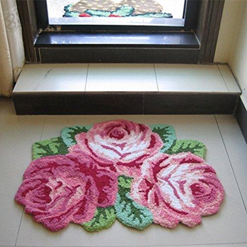 Ustide 3 Rose Shaped Rug Pink Roses Rug Handmade Rug Anti-slip Mat Personalized Custom Carpets Doormat Bathroom Rug 3x2