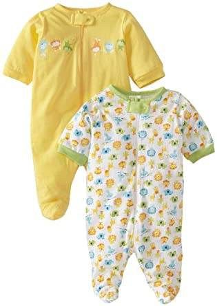 Gerber Unisex-Baby Newborn 2 Pack Zip Front Sleep and Play , Yellow/White, Newborn