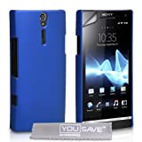 Blue Hard Hybrid Back Case Cover For The Sony Ericsson Xperia S LT26i With Screen Protector Film And Grey Micro-Fibre Polishing Clothby Yousave Accessories