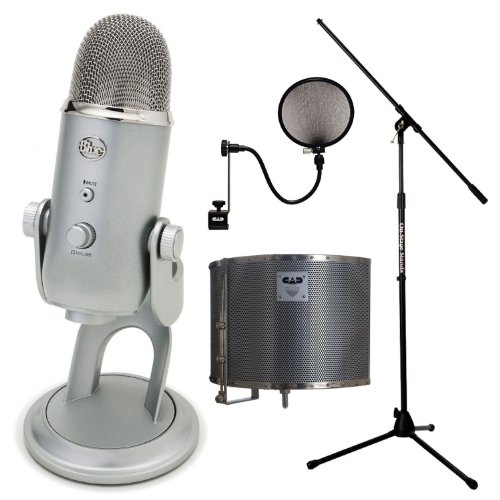 Blue Microphones Yeti Usb Microphone With Microphone Pop Filter, Acoustic-Shield 32 Stand Mounted Acoustic Enclosure And Tripod Boom Microphone Stand