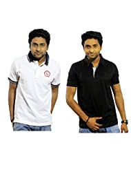 Garushi Men'S White And Black Polo Neck T-Shirt Combo - B00YML6P66