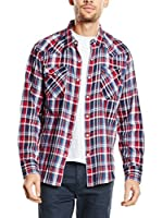 Levi's Camisa Hombre Barstow Western (Azul Oscuro / Granate)