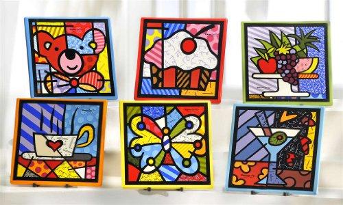 New Romero Britto Pop Trivet Ceramic Wall Art Hot Plate Holder Kitchen Set