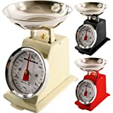 NEW 3KG TRADITIONAL WEIGHING KITCHEN SCALE BOWL RETRO SCALES MECHANICAL VINTAGE (RED)