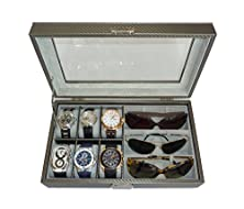 buy Timelybuys 6 Piece Watch & 3 Piece Eyeglasses Carbon Fiber Box With Glass Top Lid (Pewter)