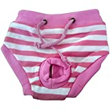 Tangpan Female Pet Dog Puppy Sanitary Pant Short Panty Striped Diaper (Pink, M)